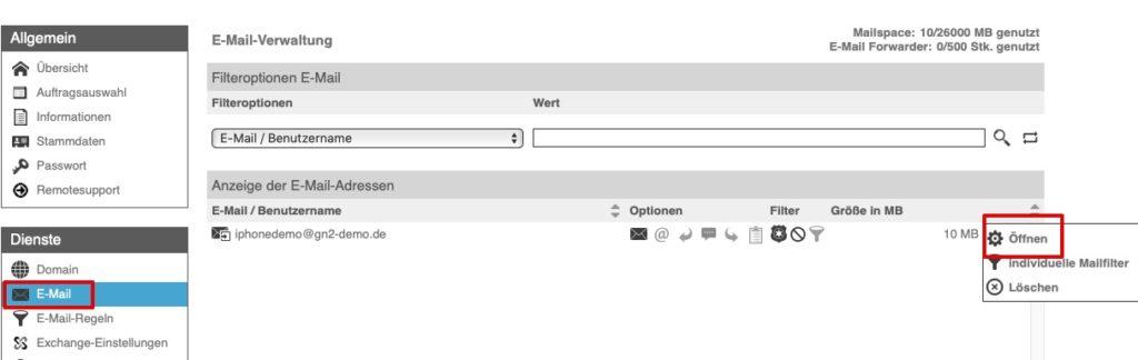 Wie kann ich die E-Mail-Adresse eines bestehenden